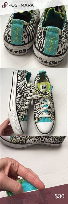 """Custom Converse All Stars! Calling all Sydneys in the world! These are custom made from Converse! Animal print with """"Sydney"""" on the back! Great condition! Women's size 9. Converse Shoes Sneakers"""