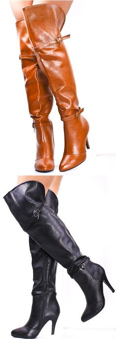 These sexy over-the-knee boots feaure four inch heels, two buckle closure, and can be worn both casually and fancy! Dorothy Johnson
