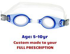 d8f71e92008 PE8 Blue Kids Prescription Swim Goggles Shown with Standard Clear Lenses  Kids Swimming