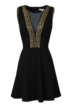 Mesh Gold Studded Dress