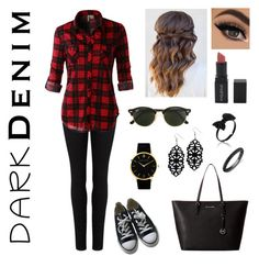 """Dark Denim"" by lovestyle02 on Polyvore featuring Mode, Paige Denim, Ray-Ban, MICHAEL Michael Kors, LE3NO, Converse, Larsson & Jennings, Smashbox und Anne Sisteron"