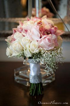 wedding bouquet- Pink and White roses- Bridal Bouquet -pageant bouquet style