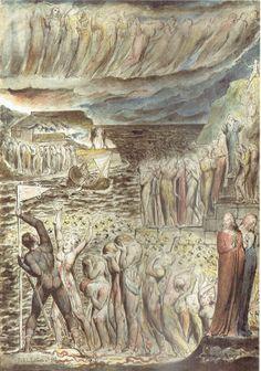 William Blake-Il vestibolo dell'Inferno e le anime riunite per attraversare l'Acheronte
