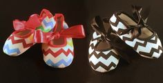 Featured at www.jane.com  Delightfully Charming Chevron Baby Shoes With Ribbon
