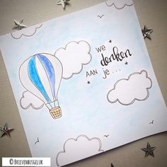 "Brievenbusgeluk op Instagram: ""• We denken aan je • © (Thinking of you) ☁️☁️ . . #inopdracht #ondemand #custommade #brievenbusgeluk #dutchlettering #postcard #kaart…"""