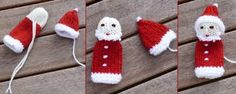Baby Knitting Patterns Christmas Santa Claus Finger Puppet - A Guide - Knitting Knitted Doll Patterns, Felt Patterns, Knitted Dolls, Baby Knitting Patterns, Crochet Patterns, Crochet Numbers, Worry Dolls, Christmas Crafts, Christmas Ornaments