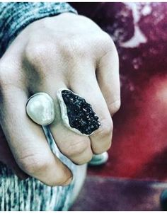Ασήμι 925  Με μαργαριτάρι mabe και μαύρο σιδηροπυρίτη