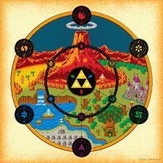 Zelda Triforce medallons rosace by fan