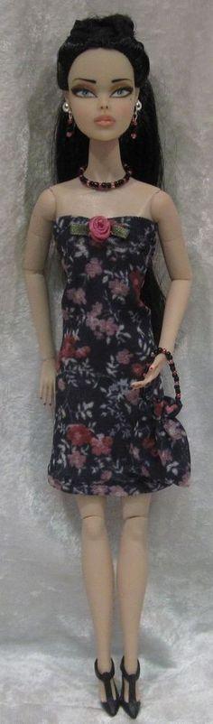 Dynamite Girls MONSIEUR Z Poppy Parker Doll Clothes #13 Dress, Purse, Jewelry #HandmadebyESCHdesigns