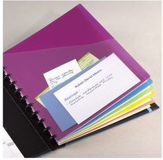 These are sold by Levenger (www.levenger.com) and are available for $14 plus shipping.  They fit perfectly in your Arc binder and work as pocket dividers to help separate papers and sections of your binder.  I keep multiple pages in my binder -- graph paper, project planners, colored note paper that I print out, and the regular Arc binder paper.  These pocket folders help separate everything and keep things that I don't want to punch nice and organized.