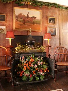 Office decorated with hunting memorabilia in the Manor House at Ladew Gardens