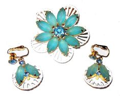 Excited to share the latest addition to my #etsy shop: Flower Brooch Earring Demi Set Aqua Blue Opaque Rhinestones White Enamel Vintage 1950s http://etsy.me/2ts9aNJ #jewelry #blue #gold #no #women #brooch #white #floral #midcentury