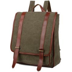 YALUXE High Density Canvas Leather Backpack Rucksack 13' Laptop School Bag => Tried it! Love it! Click the image. : Travel Backpack