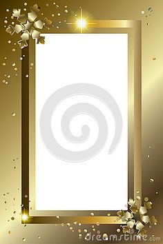 Happy New Year 2019 and Merry Christmas Greeting card frame decorated with gold snowflakes, stars and glitter, confetti. Christmas Frame decoration. Vector illustration. Festive Winter Holiday Gold Luxury copy space for wishes text xmas background. Picture frame, photo frame.