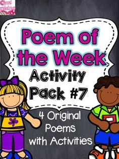 Poetry {Poem of the Week} Activity Pack #7 - These original poems and activities are great for shared reading and work work (daily 5 or centers).  There are enough activities for 4 weeks of word work! $