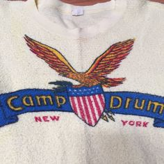 "Vintage 1950's ""Camp Drum"" Military Print Terry Cotton Tee Shirt 
