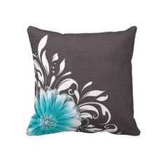 gray, teal and orange decorative pillows - Google Search