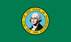 "#42 Washington. State seal with an image of George Washington on a green background, which represents the ""Evergreen"" state."