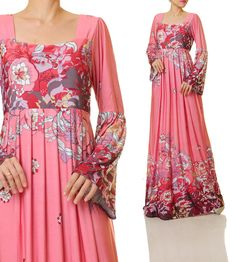 Long Pink Dress | Bohemian Maxi Dress | Pink Maxi Dress Long Sleeves | Long Sleeve Maternity Dress | Plus Size Maxi Dress 4876/2840/5013 by Tailored2Modesty on Etsy