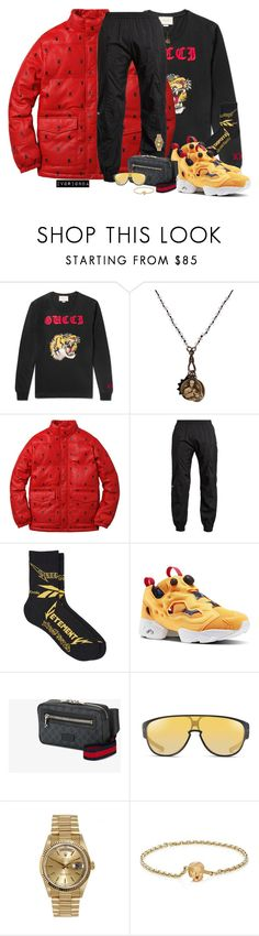 """""""io"""" by ivorionda ❤ liked on Polyvore featuring Gucci, Miracle Icons, Vetements, Reebok, Oakley, Rolex, Luis Morais, men's fashion and menswear"""