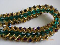 Green bracelet gold bracelet black Swarovski crystal by songtoto, $20.99