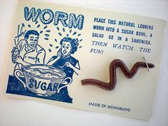 Realistic worm gag on original graphic card by thelovelyandstrange