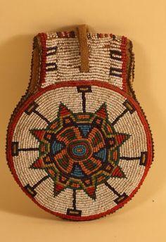 Lakota? {South Dakota?} ~ Round Bag of beads & leather ~ Circa 1890 {Rear View of item}