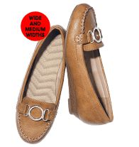 """Cushion Walk® Buckle Wedge Loafer- Leatherlike upper with silvertone accent. Wave-molded footbed. Easy slip on. Faux-wood wedge with 1"""" H heel. Regularly $34.99, buy Avon shoes online at http://eseagren.avonrepresentative.com"""