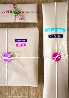 A bright button adds pizzazz to brown-paper packages — and helps tightly steady the bow as you tie it. Get the tutorial at Craft and Creativity »  - GoodHousekeeping.com