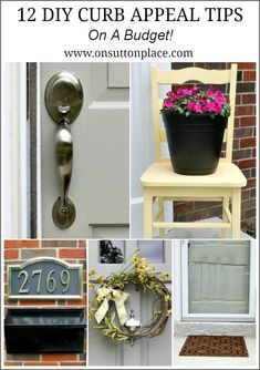 12 DIY Curb Appeal Tips – on a Budget!  The house numbers on a wooden plaque.