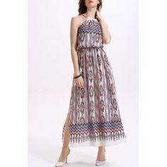 Мода вокруг шеи высокой талией отпечатанной стороне щелевая платье для женщин  #Мода #вокруг #шеи #высокой #талией #отпечатанной #стороне #щелевая #платье #для #женщин