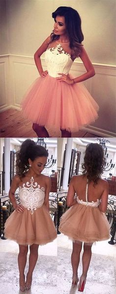 A-Line Jewel Sleeveless Short Champagne Prom Dress with White Lace,Fashion Homecoming Dress,Sexy Party Dress,Custom Made Evening Dress