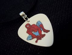 Spiderman Guitar Pick on Rolled White Leather Cord Necklace by ItsYourPick on Etsy