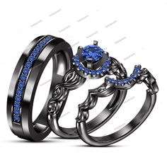 Round Blue Sapphire 14K Black Gold Finish 925 Silver Trio Wedding Ring Set Gift$