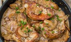 Tender, juicy Pork Chops in a Creamy Brandy Mushroom Sauce is an easy recipe that delivers gourmet flavor. A great one pan dish. Pork Rib Roast, Baked Pork Chops, Pork Ribs, Mushroom Cream Sauces, Mushroom Pork Chops, Mushroom Sauce, Bacon Stuffed Mushrooms, Stuffed Peppers, Center Cut Pork Chops