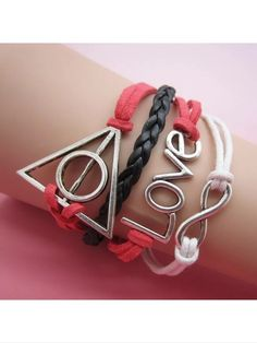 Leather style bracelet with love, infinity, and triangle charm