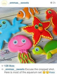 Cute sea life sugar cookies