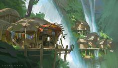 Falls Village by Jeremy Fenske Environment Concept Art, Environment Design, Fantasy Places, Fantasy World, Fantasy Landscape, Environmental Art, Fantastic Art, Les Oeuvres, Pixel Art
