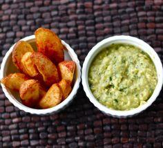 avocado tomatillo dip + spicy roasted potatoes fires = sensational superbowl snack.