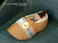 Baby gnome sleeping in a wooden shoe   fantasy ooak by FuegoFatuo, €55.00