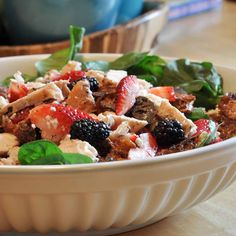 Berry and Chicken Salad with Candied Pecans
