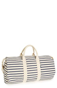 Striped Canvas Duffel Bag