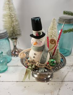 Christmas Decoration // Snowman // Vintage Style Christmas // Folk Art Snowman // Bottle Brush Tree //
