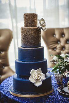 Navy Blue and Gold Wedding Cake ~ Ten·2·Ten Photography