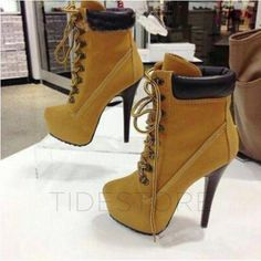 Chic Stiletto Heels Lace-Up platform Shoes Ankle Boots