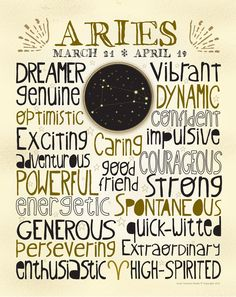 Zodiac sign Aries poster. For in depth info on Aries personality & characteristics go to http://www.buildingbeautifulsouls.com/zodiac-signs/western-zodiac/aries-star-sign-traits-personality-characteristics/