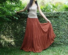 NO.5 Rust Cotton, Hippie Gypsy Boho Tiered Long Peasant Skirt. $38.00, via Etsy.