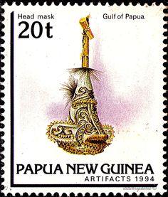 Papua New Guinea.  ARTIFACTS. HEAD MASK, GULF OF PAPUA. Scott 828 A190 Issued 1994 June 29,  20. /ldb.