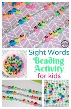 Sight Words Beading Activity for Kids.