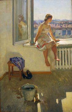 """Анатолий Павлович Левитин   """"Теплый день."""" 1957"""